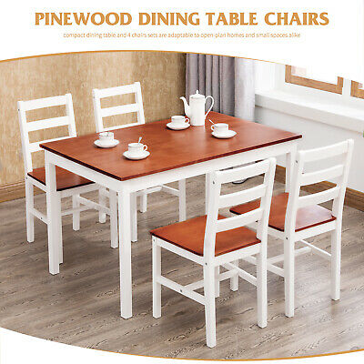 5 Pieces Wood Dining Table Set with 4 Chairs for Home Kitchen Funiture