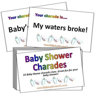 Baby Shower Charades (Baby Shower Game, CHARADES- UNISEX, yellow, party game, baby shower,)