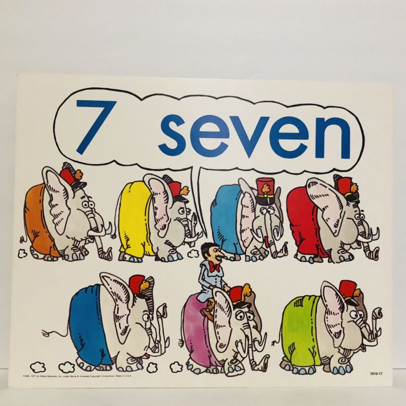 Vintage Number 7 Seven Poster Card Electric Company 1985 Educational Elephants