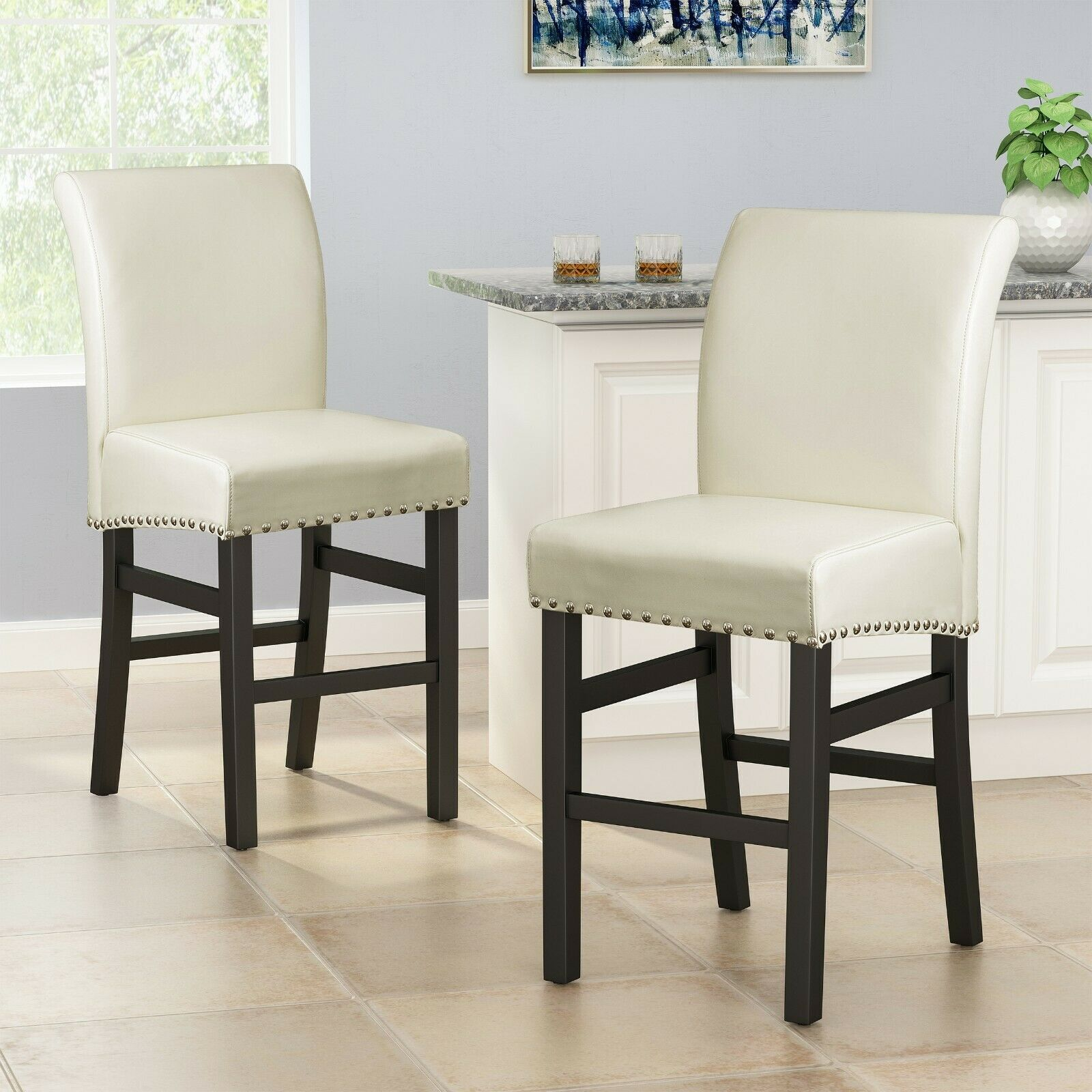 Clifton 25-Inch Ivory Leather Counter Stool (Set of 2) Benches, Stools & Bar Stools