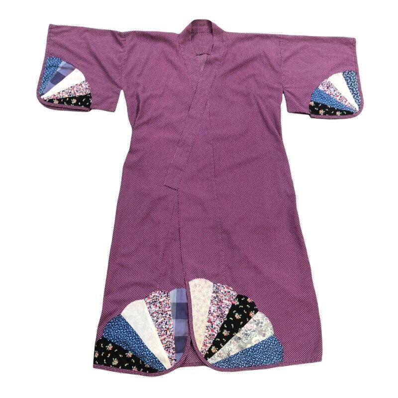 Vintage Japanese Polka Dot Kimono Robe Haori Quilted Fan Pattern 100% Cotton