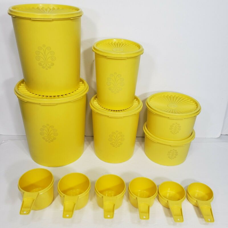 Vintage Tupperware Servalier Nesting Canisters W/Lids and Measuring Cups Yellow