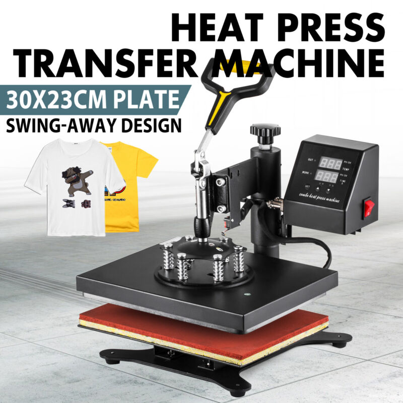 "12"" x 10"" Heat Press Machine Sublimation Print Transfer Swing Away T-Shirt"
