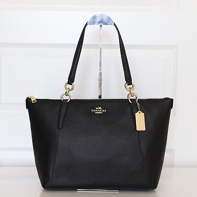 New Coach F57526 Crossgrain Ava Zip Tote Handbag in Black