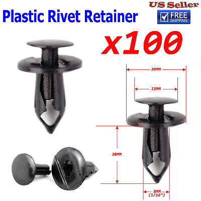 Car Parts - 100x 8mm Hole Push In Plastic Rivets Retainer Clips Car Door Fender