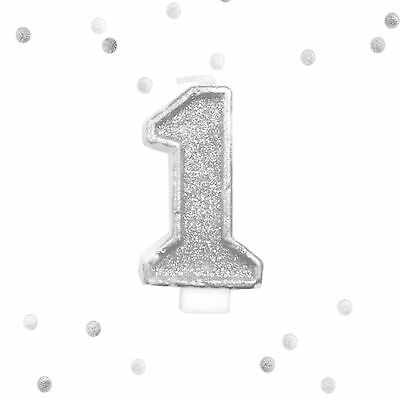 Silver Glitter 1st Birthday Candle Number 1 Silver White One Smash Cake Topper