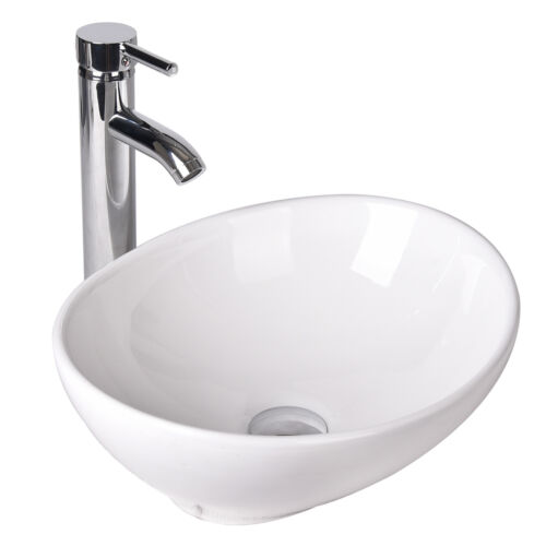 Ceramic Vessel Sink Combo Bathroom Bowl w/ Faucet Pop-up Drain Oval White