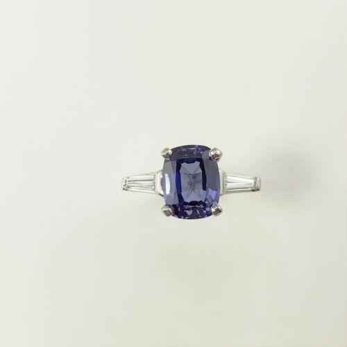 Vintage Platinum Tanzanite and Diamond Ring Size 5 #9737