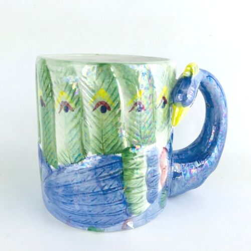 Peacock Ceramic Coffee Cup Henriksen Imports 3D Figural Mug Blue Green Rare