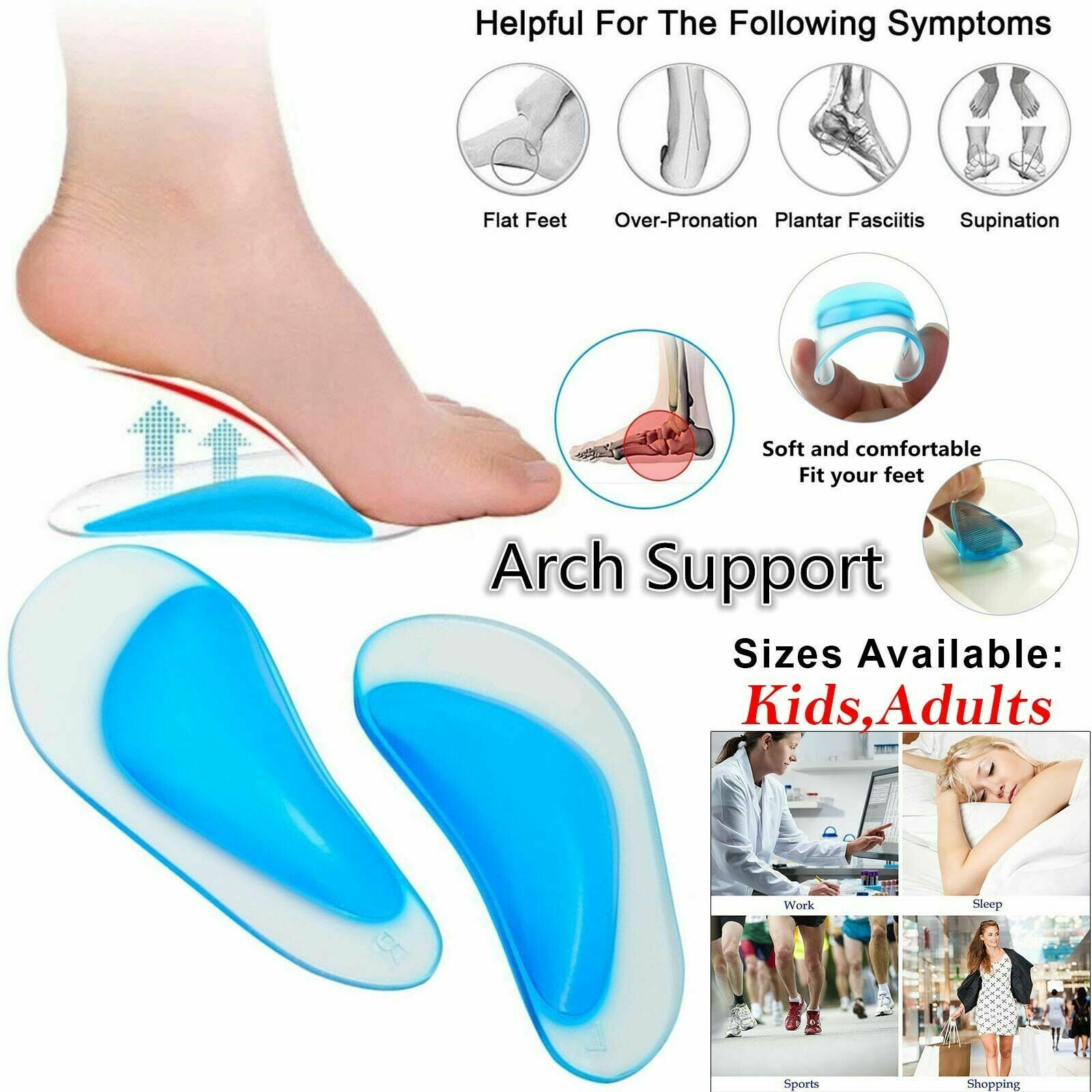GEL Silicone Gel Flat Foot Corrector Orthotic Arch Support Insole 1PAIR