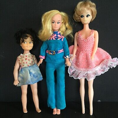 VINTAGE LOT Of 3 Vinyl 60's Barbie Sindy Patch /Poppet Clone Type DOLLS HK 1960s