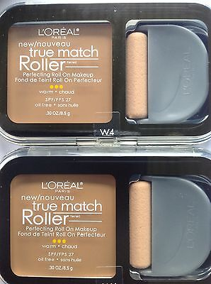 Natural Perfecting Powder Foundation - 3 X L'Oreal True Match Roller Perfecting Roll On Makeup NATURAL BEIGE #W4 NEW.