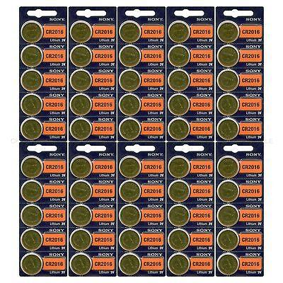 50 NEW SONY CR2016 3V Lithium Coin Battery Expire 2027 FRESHLY NEW - USA Seller