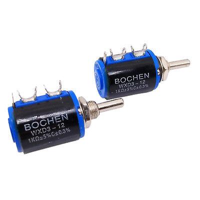 Us Stock 2pcs 1k Ohm Wxd3-12 Rotary Multi-turn Wirewound Precision Potentiometer