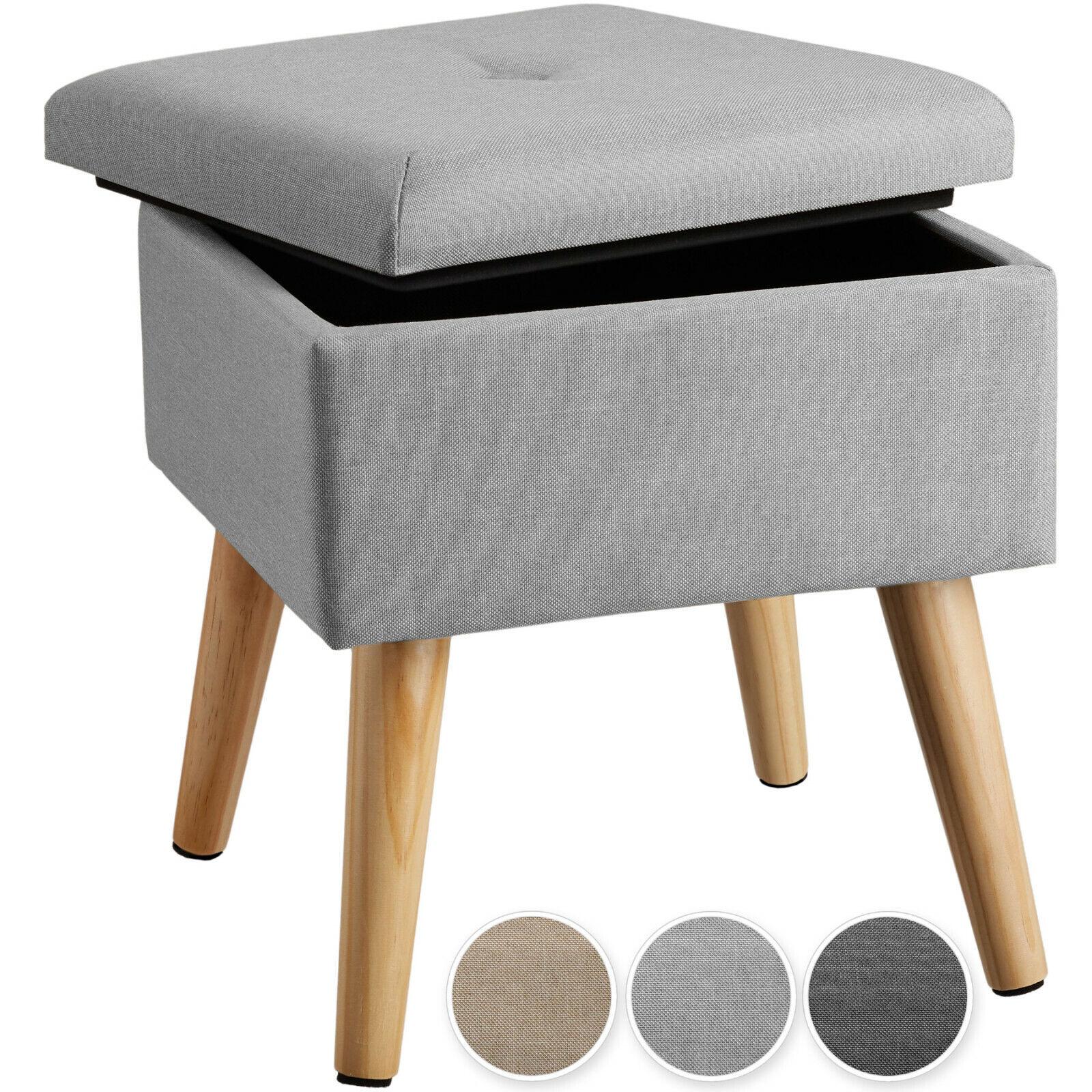 Sitzhocker mit Stauraum Polsterhocker Fußhocker Hocker Leinenoptik Holzbeine