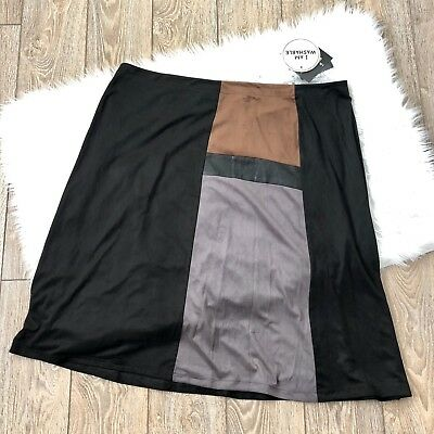 IN Studio Womens Skirt Size 20W Color Block Faux Micro Suede Straight Pencil