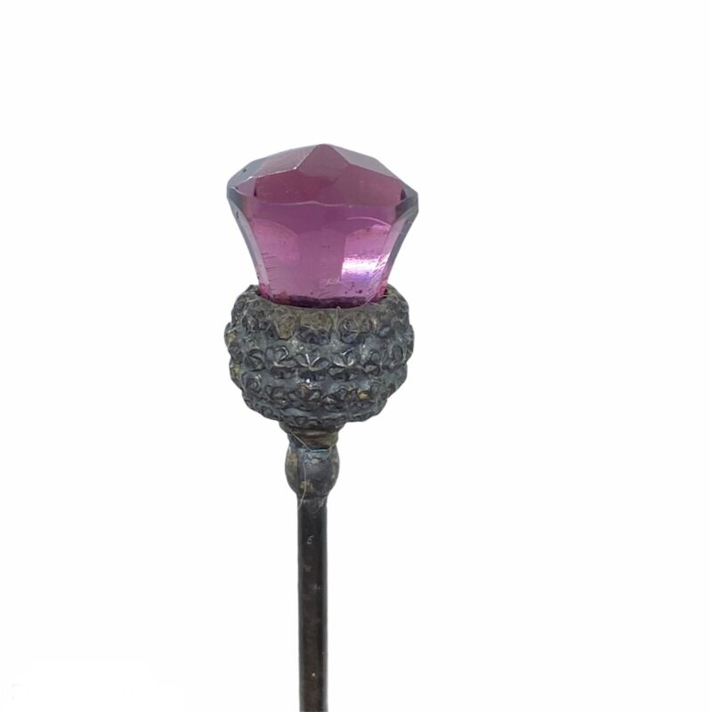Antique Faceted AMETHYST GLASS THISTLE HATPIN - Art Nouveau Hat Pin