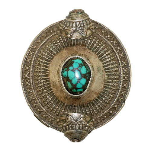 (2633) Antique element of headdress Ladakh/ Tibet. Turquoise and silver