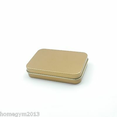 NEW 4oz GOLD Rectangular Slip On Lid Survival Metal Tin Container Box Kit  ()