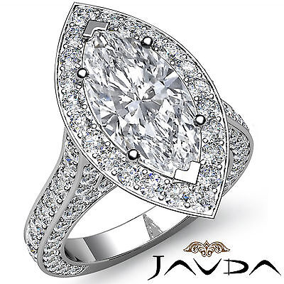 Bridge Accent Halo Pave Marquise Diamond Engagement Ring GIA I Color SI1 3.1Ct