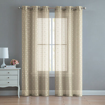 2 Pack: Metallic Geo Semi Sheer Grommet Window Curtain - Assorted Sizes & Colors](Metallic Curtain)