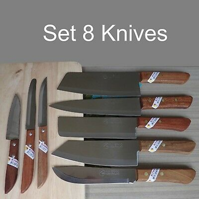 Chef Knife Set 8 Knives Kiwi Thai Brand New Cutlery Stainless Steel Wood Handle  ()