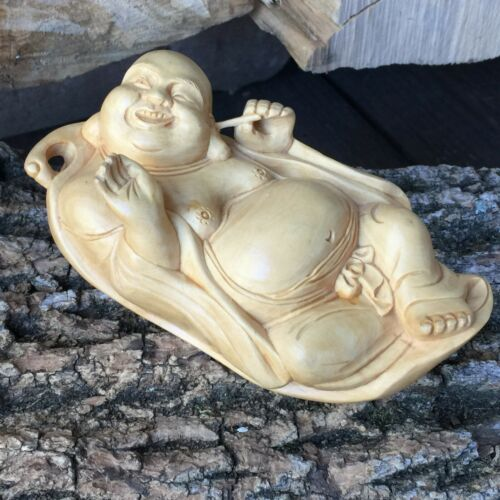 Vtg Chinese Wood Carved Laughing Happy Buddha Laying in Leaf Cleaning His Ears
