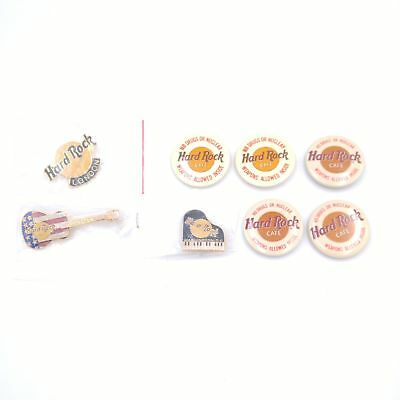 Lot of 8 Hard Rock Cafe Pin Backs and Buttons London D.C. No Drugs or Nuclear