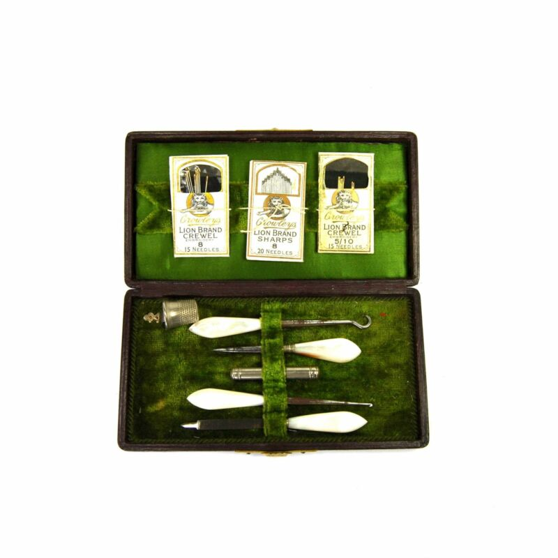 Antique Sewing Kit in Green Velvet Satin Lined Etui Case Carved MOP Tools