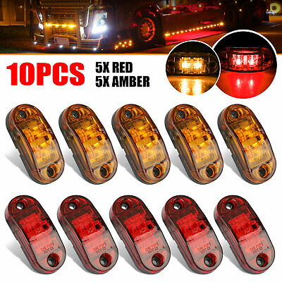 "5x Amber+ 5x Red LED Car Truck Trailer RV Oval 2.5"" Side Clearance Marker Lights"