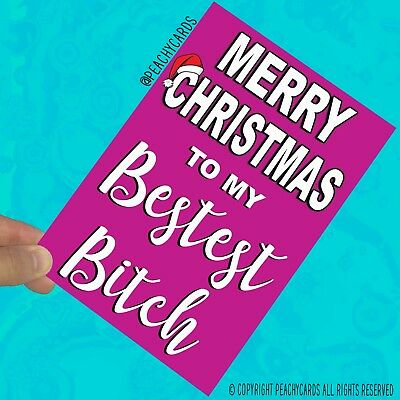 Funny Christmas Cards For Best Friend Merry Christmas To My Bestest Bitch (Merry Christmas To My Best Friend Card)