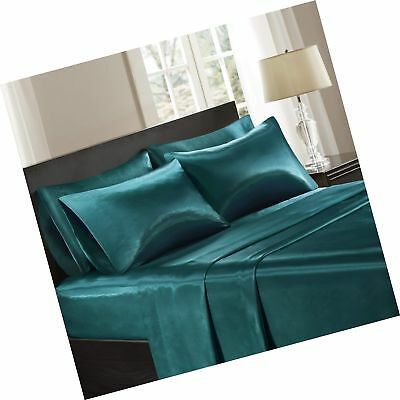 Madison Park Essentials Satin Silk Sheets Set Teal Queen Fre