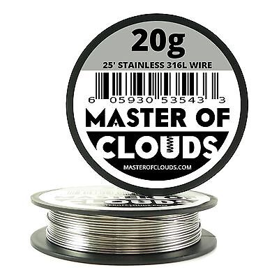 Ss 316l - 25 Ft. 20 Gauge Awg Stainless Steel Resistance Wire 0.81 Mm 20g 25