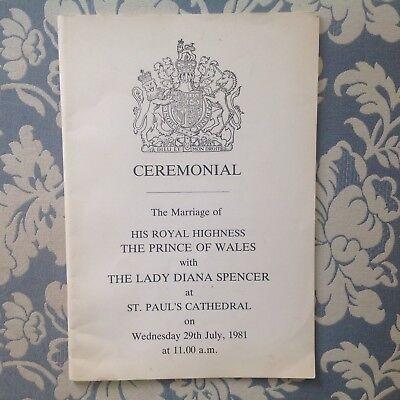 Princess Diana: ROYAL WEDDING 1981 CEREMONIAL BOOKLET
