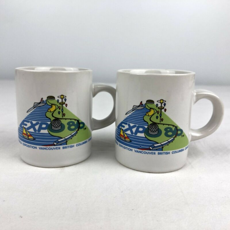 Pair of 2 Vintage EXPO 86 Coffee Mugs Small Cups Vancouver BC Canada