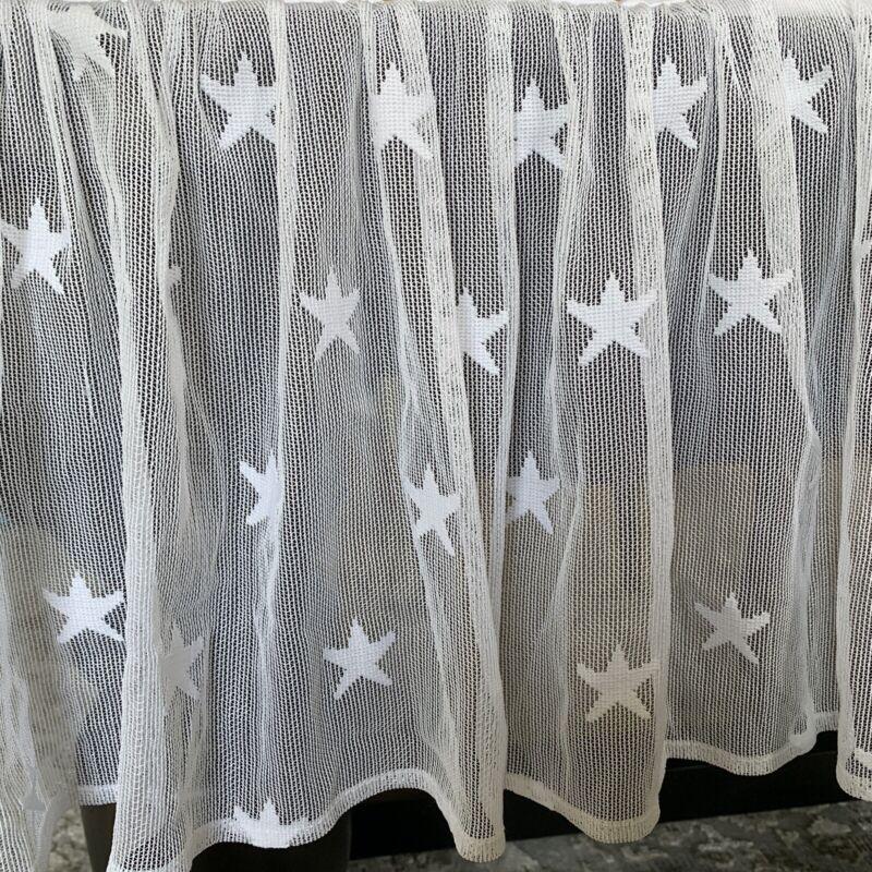 "Sheer Lace White Overlay Crib Skirt ""Stars"" Wendy Bellissimo Starlight Nursery"
