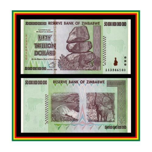 50 TRILLION ZIMBABWE DOLLAR MONEY CURRENCY. UNCirculated. (* 10 20 100 *)