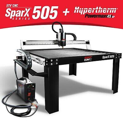 Stv Cnc Sparx-505 5x5 Plasma Cutting Table Hypertherm Powermax45 Xp Machine