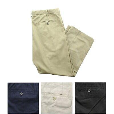 IZOD Mens Madison Flat Front Classic Fit No-Iron Stretch Chino Khaki Pants Classic Flat Front Khakis