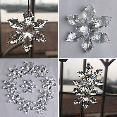 10x Christmas Ornament Clear Snowflake Shaped Hanging Pendant Xmas Tree - Snowflake Decor