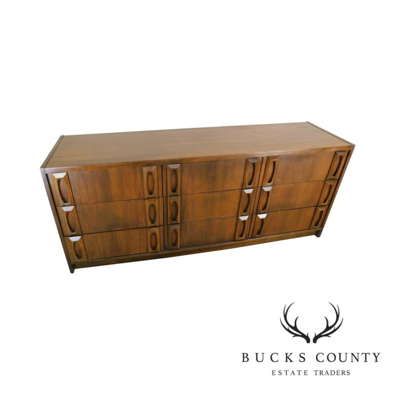 Mid Century Modern Walnut 9 Drawer Long Dresser