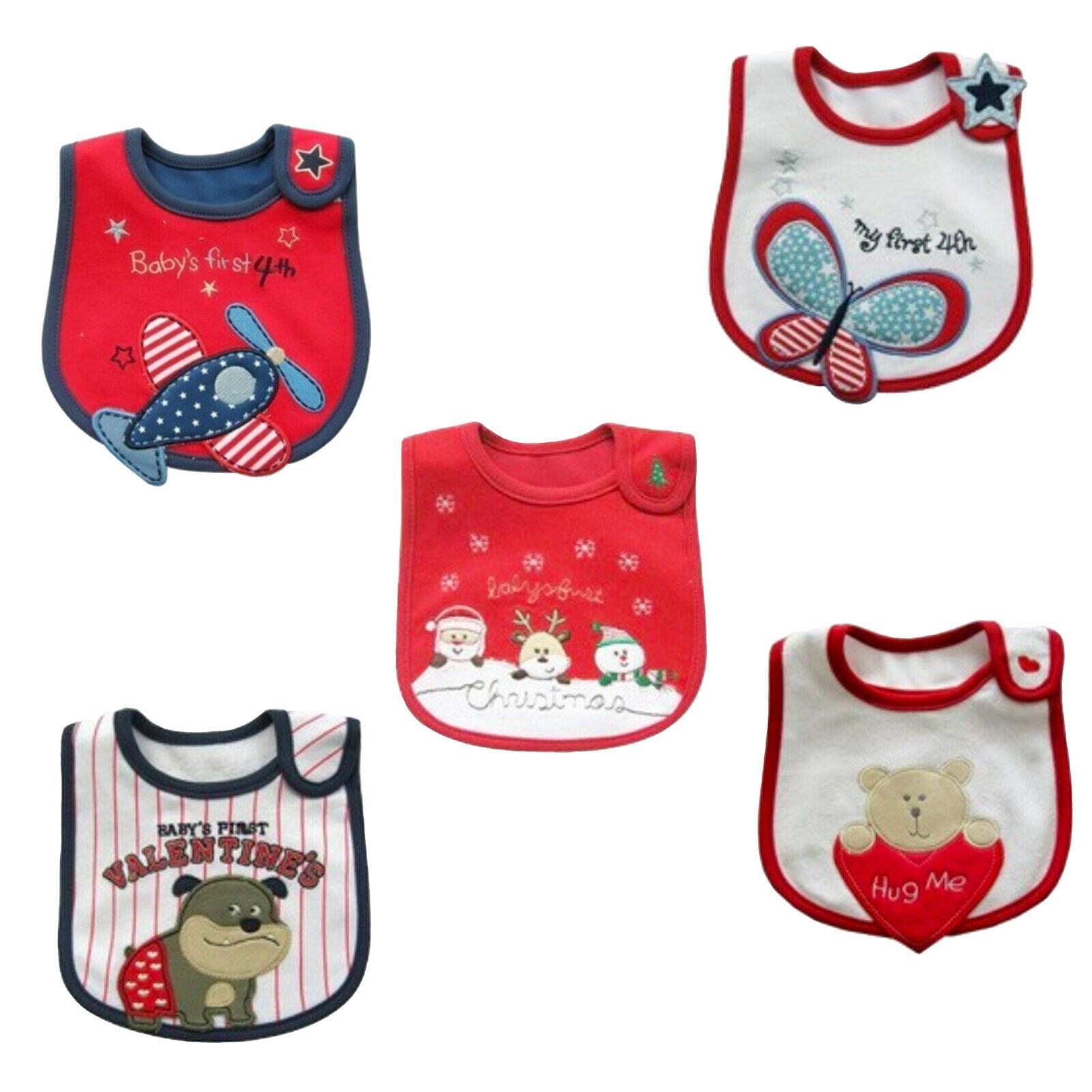 Baby Waterproof Bibs w Holiday Designs - 4th, Christmas, Val