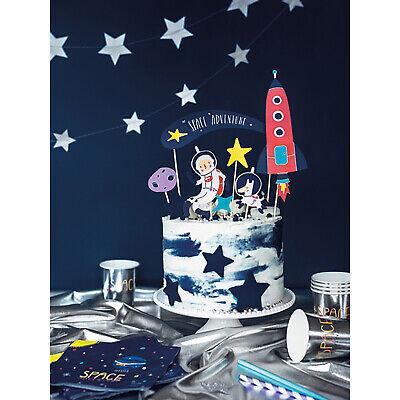 SPACE PARTY CAKE TOPPER - Boys Birthday Party Galaxy Rocket Ship Decorations](Galaxy Birthday Cake)