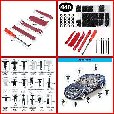 446pcs Car Body Retainer Push Type Pin Rivet Trim Clip Panel Moulding Kit ()