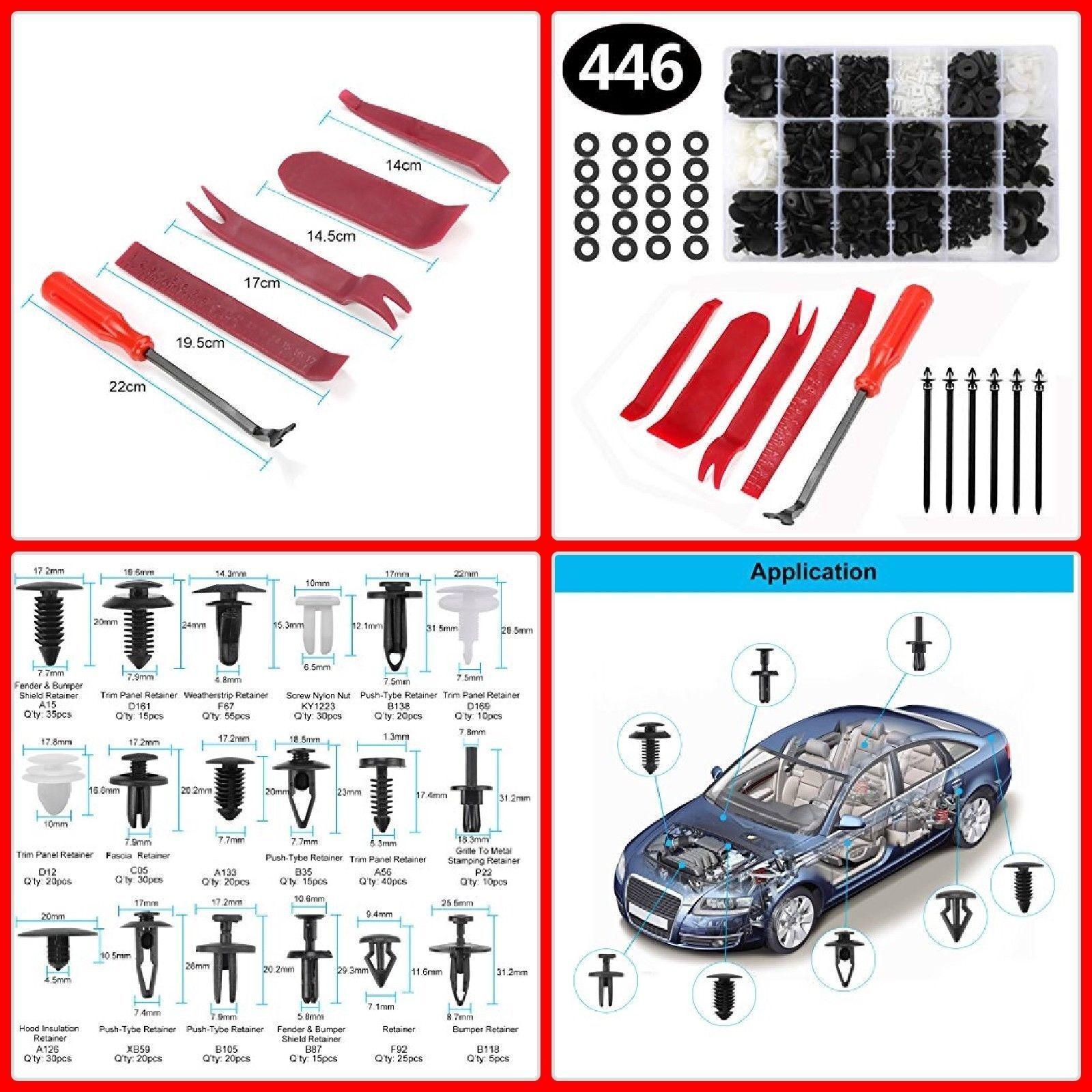 200pcs Car Door Body Push Pin Rivet Trim Clip Retainer Fastener Panel Moulding