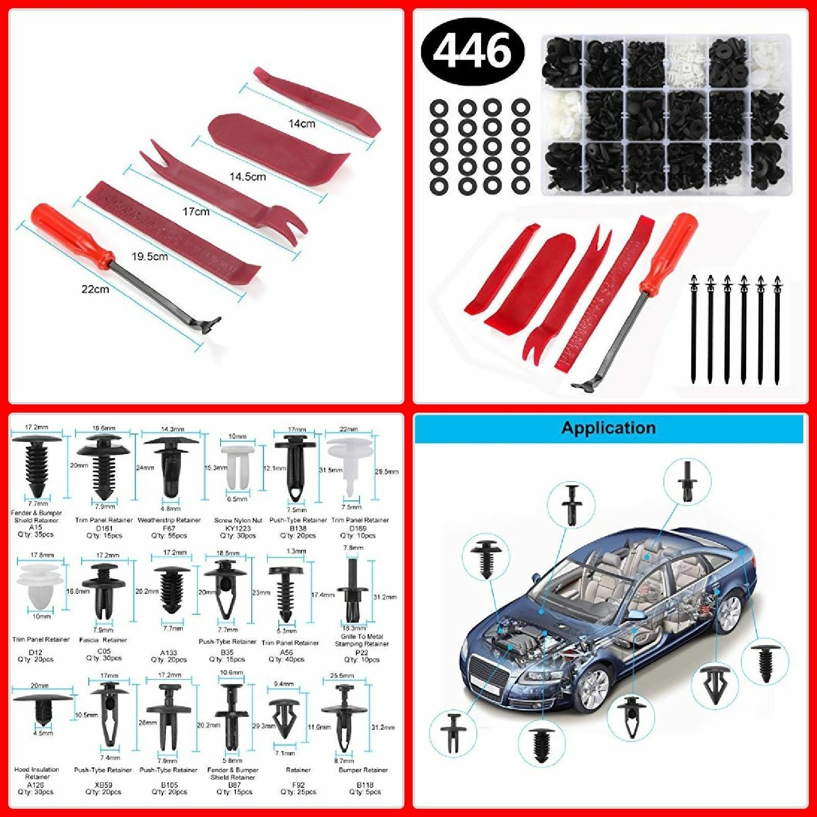 Car Parts - 446pcs Car Body Retainer Push Type Pin Rivet Trim Clip Panel Moulding Kit