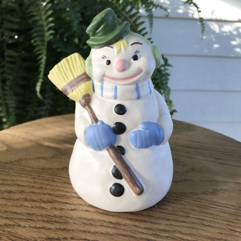 Vintage 1950s Ceramic Snowman Figurine - Hand Painted Alberta Mold - Kitschmas