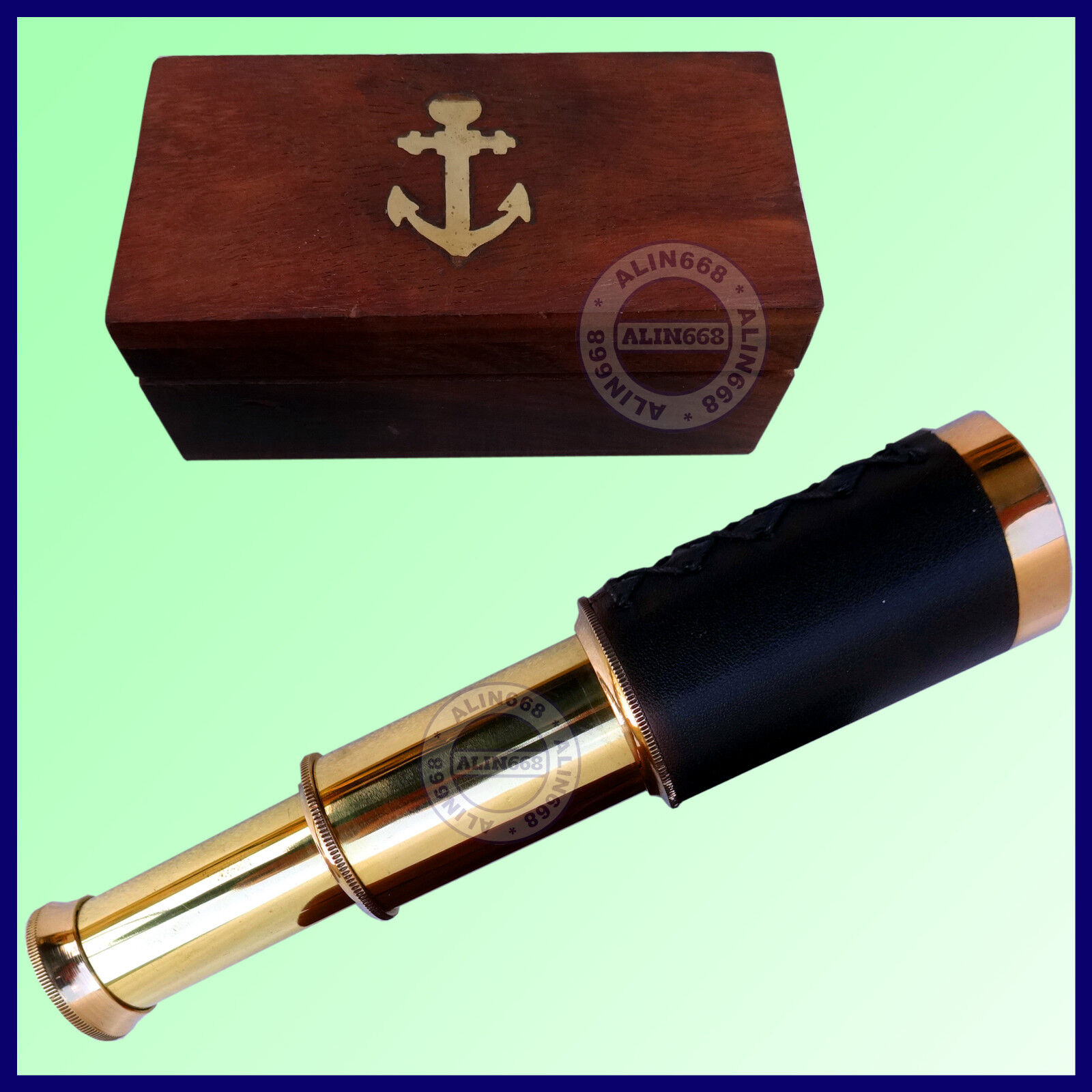 Handmade Nautical Shiny Brass Black Leather Spyglass Telescope With Wooden Box
