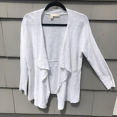 Eileen Fisher Linen White Open Front Cardigan Drapey