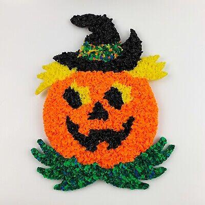 Vtg Halloween Melted Plastic Popcorn Pumpkin Jack O Lantern Wall Hanging Decor